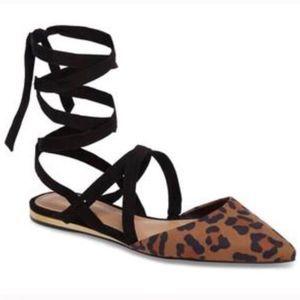BCBGeneration Leopard Ankle Wrap Flat Mules